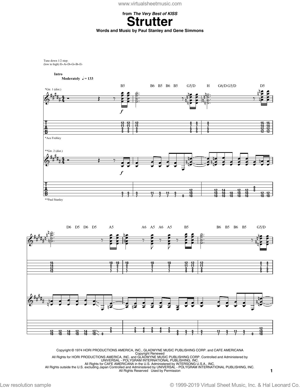 KISS - Strutter sheet music for guitar (tablature) [PDF]
