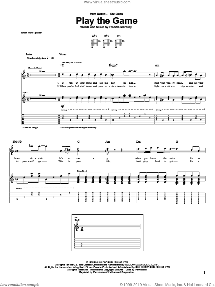 Play The Game sheet music for guitar (tablature) by Freddie Mercury
