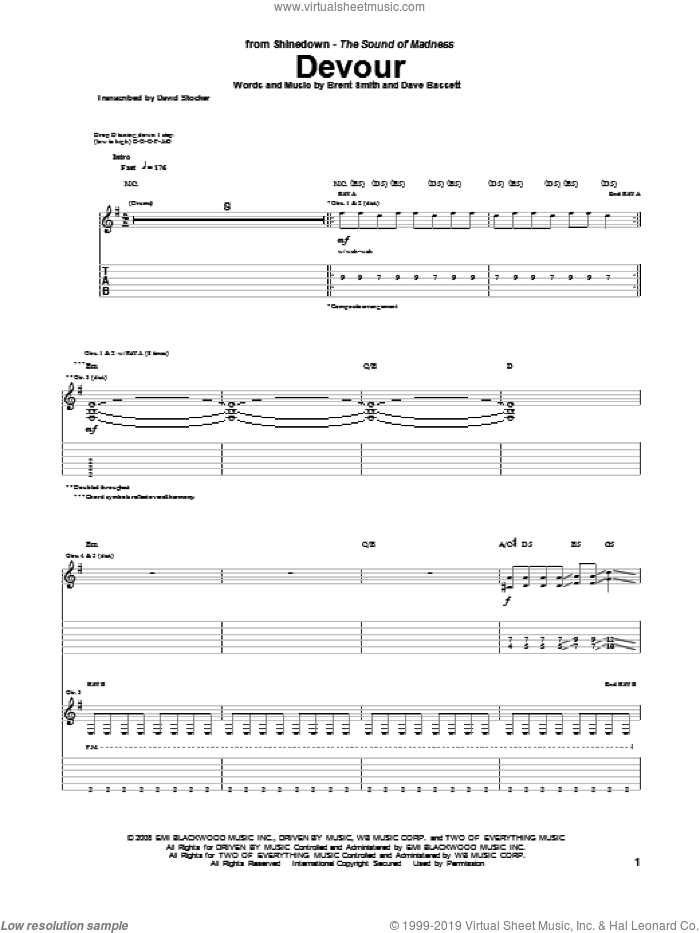 Devour sheet music for guitar (tablature) by Shinedown, Brent Smith and Dave Bassett. Score Image Preview.