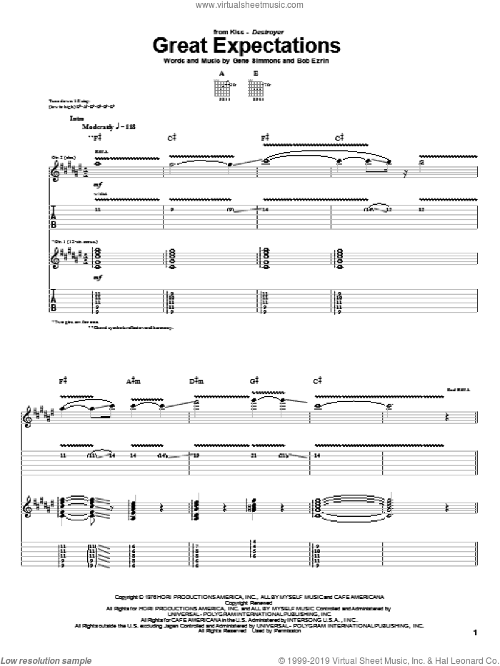 Great Expectations sheet music for guitar (tablature) by KISS, Bob Ezrin and Gene Simmons, intermediate. Score Image Preview.