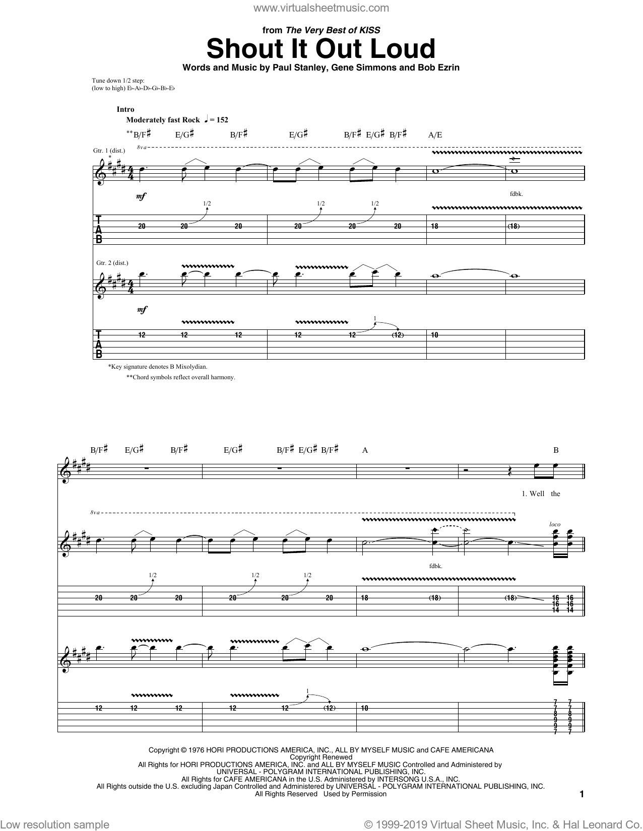Shout It Out Loud sheet music for guitar (tablature) by Paul Stanley, KISS and Gene Simmons. Score Image Preview.