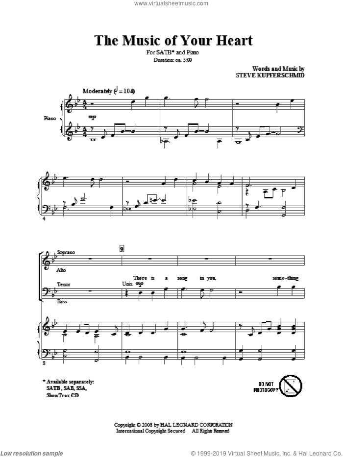 The Music Of Your Heart sheet music for choir (SATB) by Steve Kupferschmid, intermediate choir (SATB). Score Image Preview.