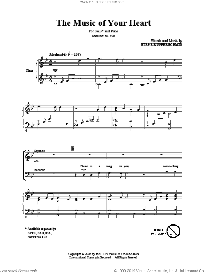 The Music Of Your Heart sheet music for choir (SAB: soprano, alto, bass) by Steve Kupferschmid, intermediate. Score Image Preview.