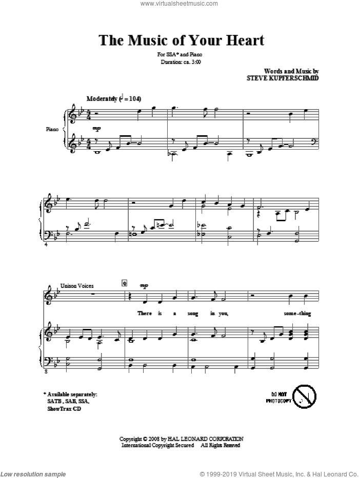 The Music Of Your Heart sheet music for choir (SSA: soprano, alto) by Steve Kupferschmid, intermediate skill level