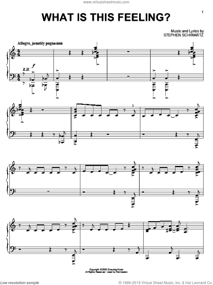 What Is This Feeling? sheet music for piano solo by Stephen Schwartz and Wicked (Musical), intermediate skill level
