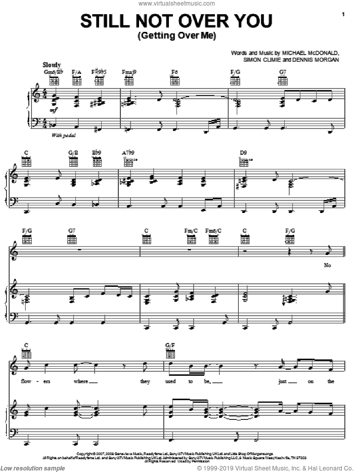 Still Not Over You (Getting Over Me) sheet music for voice, piano or guitar by Simon Climie