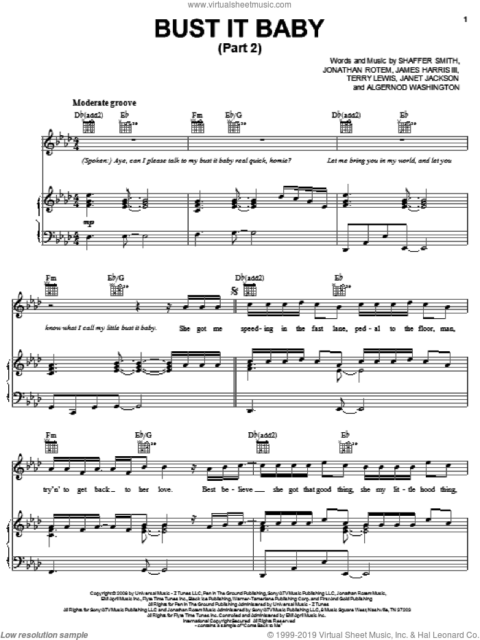 Bust It Baby (Part 2) sheet music for voice, piano or guitar by Plies featuring Ne-Yo, Ne-Yo, Plies, Algernod Washington, James Harris, Janet Jackson, Jonathan Rotem, Shaffer Smith and Terry Lewis, intermediate skill level