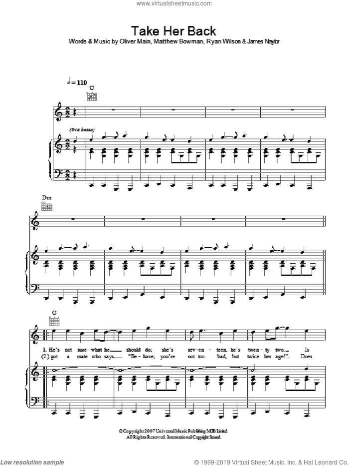 Take Her Back sheet music for voice, piano or guitar by James Naylor