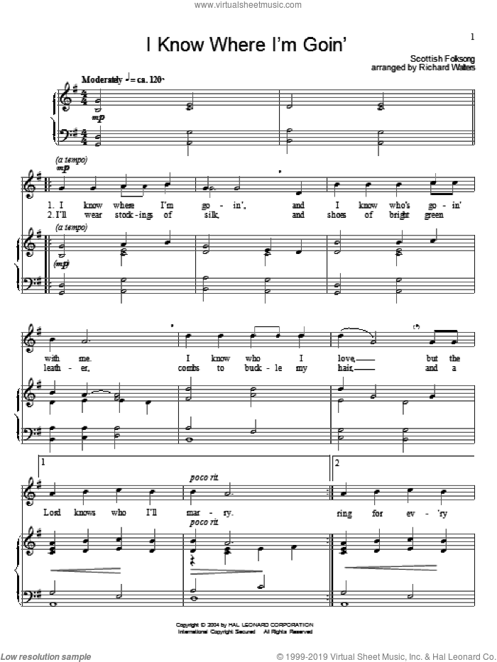 I Know Where I'm Goin' sheet music for voice and piano, intermediate. Score Image Preview.