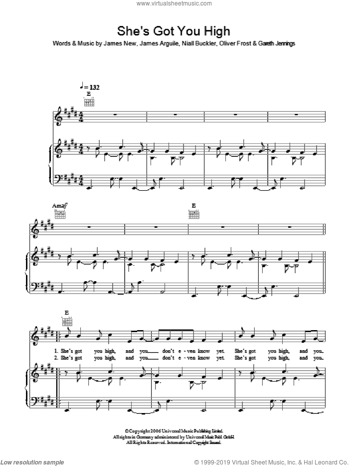 She's Got You High sheet music for voice, piano or guitar by Mumm-Ra, intermediate. Score Image Preview.