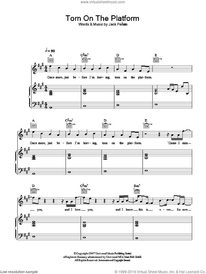 Torn On The Platform sheet music for voice, piano or guitar by Jack Penate, intermediate skill level