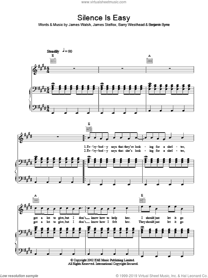 Silence Is Easy sheet music for voice, piano or guitar by Starsailor, Barry Westhead, Benjamin Byrne, James Stelfox and James Walsh, intermediate skill level