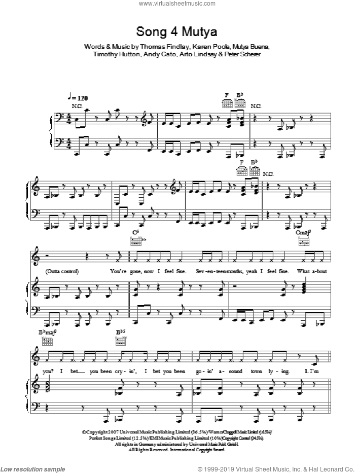 Song 4 Mutya (Out Of Control) sheet music for voice, piano or guitar by Andy Cato, Karen Poole and Mutya Buena. Score Image Preview.