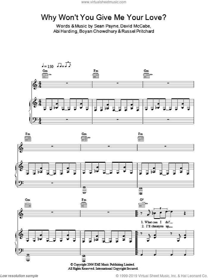 Why Won't You Give Me Your Love? sheet music for voice, piano or guitar by The Zutons, Abi Harding, Boyan Chowdhury, David McCabe, Russel Pritchard and Sean Payne, intermediate