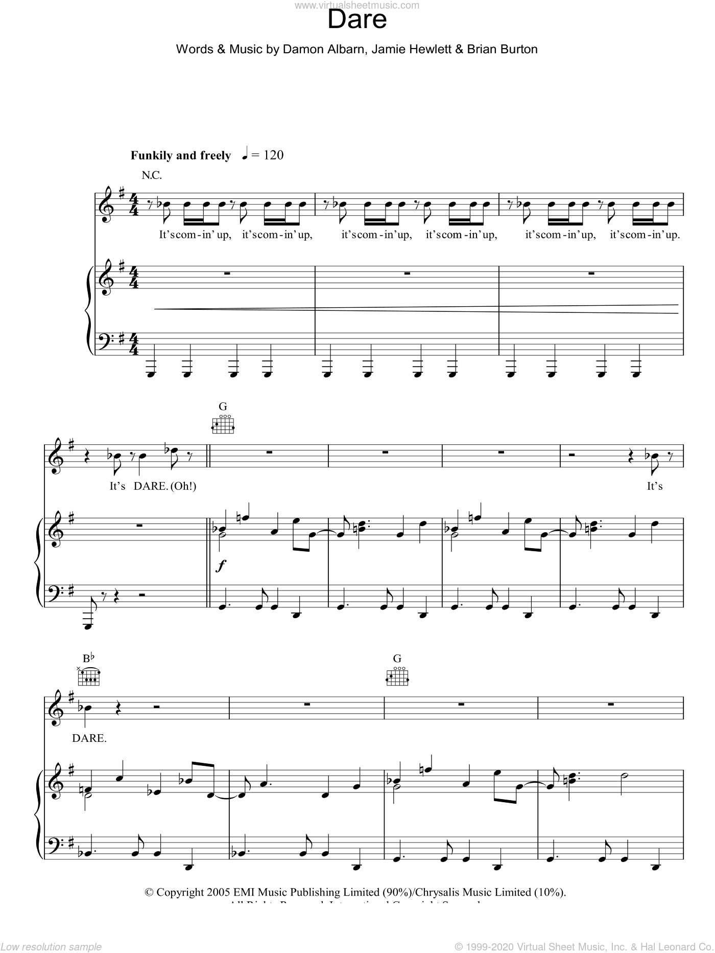 Dare sheet music for voice, piano or guitar by Gorillaz and Damon Albarn. Score Image Preview.