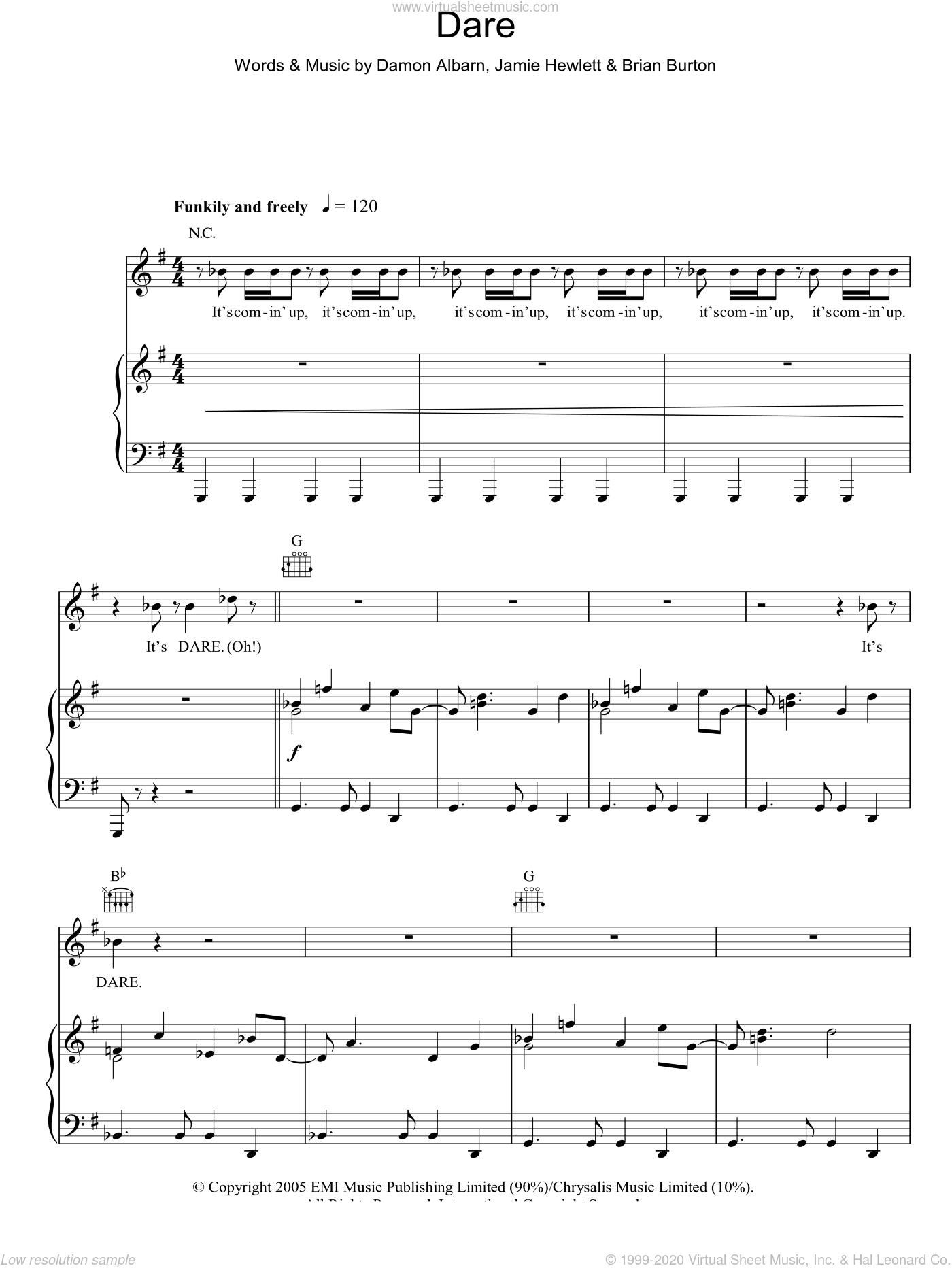 Dare sheet music for voice, piano or guitar by Gorillaz, Brian Burton, Damon Albarn and Jamie Hewlett, intermediate skill level