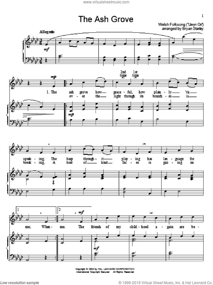 The Ash Grove sheet music for voice and piano by Old Welsh Air and Miscellaneous, intermediate voice. Score Image Preview.