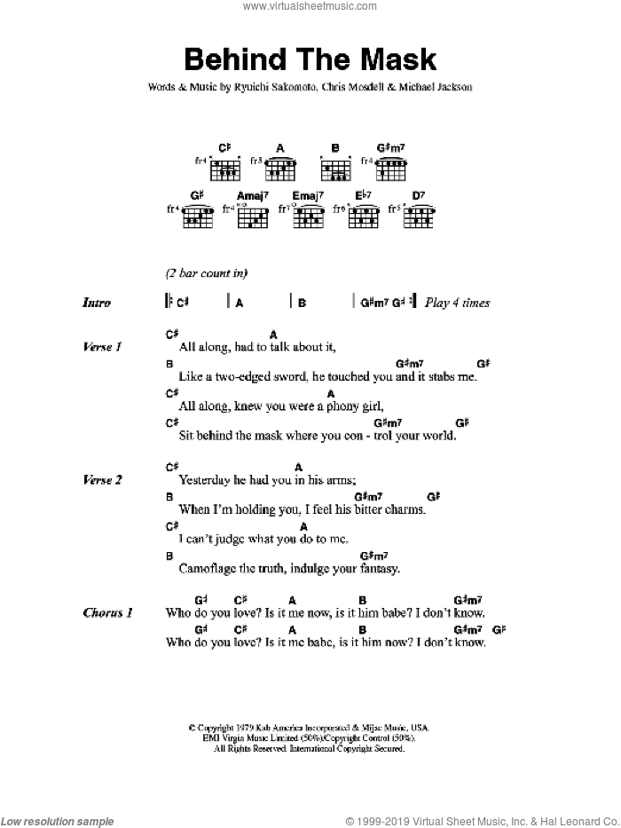Behind The Mask sheet music for guitar (chords) by Eric Clapton, Chris Mosdell, Michael Jackson and Ryuichi Sakomoto, intermediate skill level