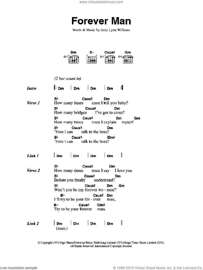 Forever Man sheet music for guitar (chords) by Eric Clapton and Jerry Lynn Williams, intermediate skill level