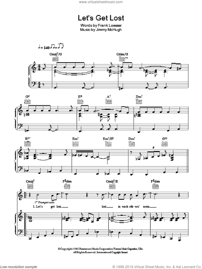 Let's Get Lost sheet music for voice, piano or guitar by Chet Baker, Jimmy McHugh and Frank Loesser, intermediate. Score Image Preview.