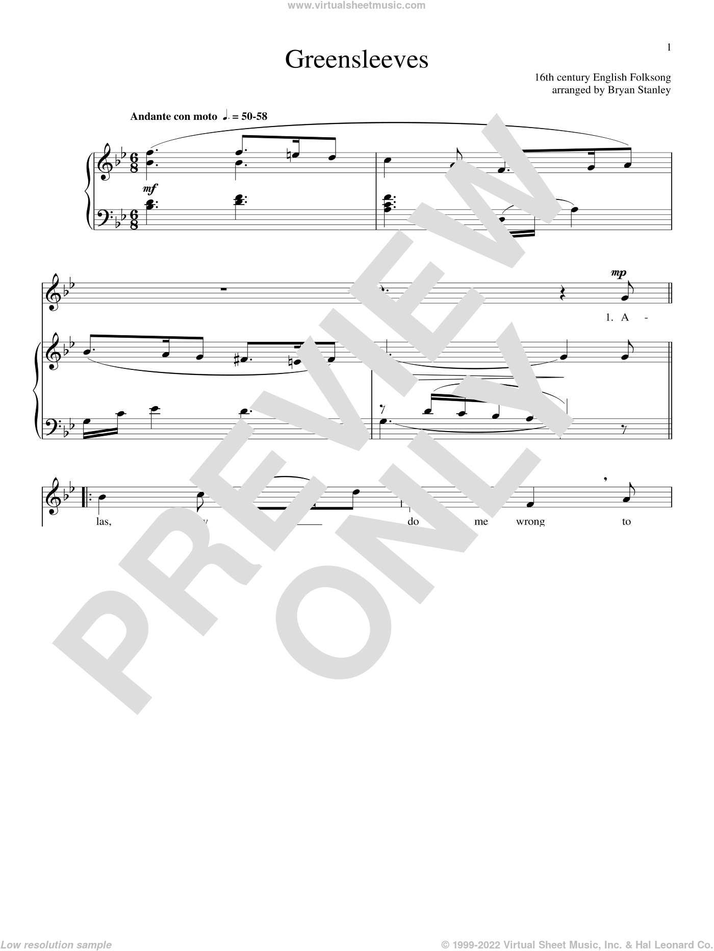 Greensleeves sheet music for voice and piano, intermediate skill level