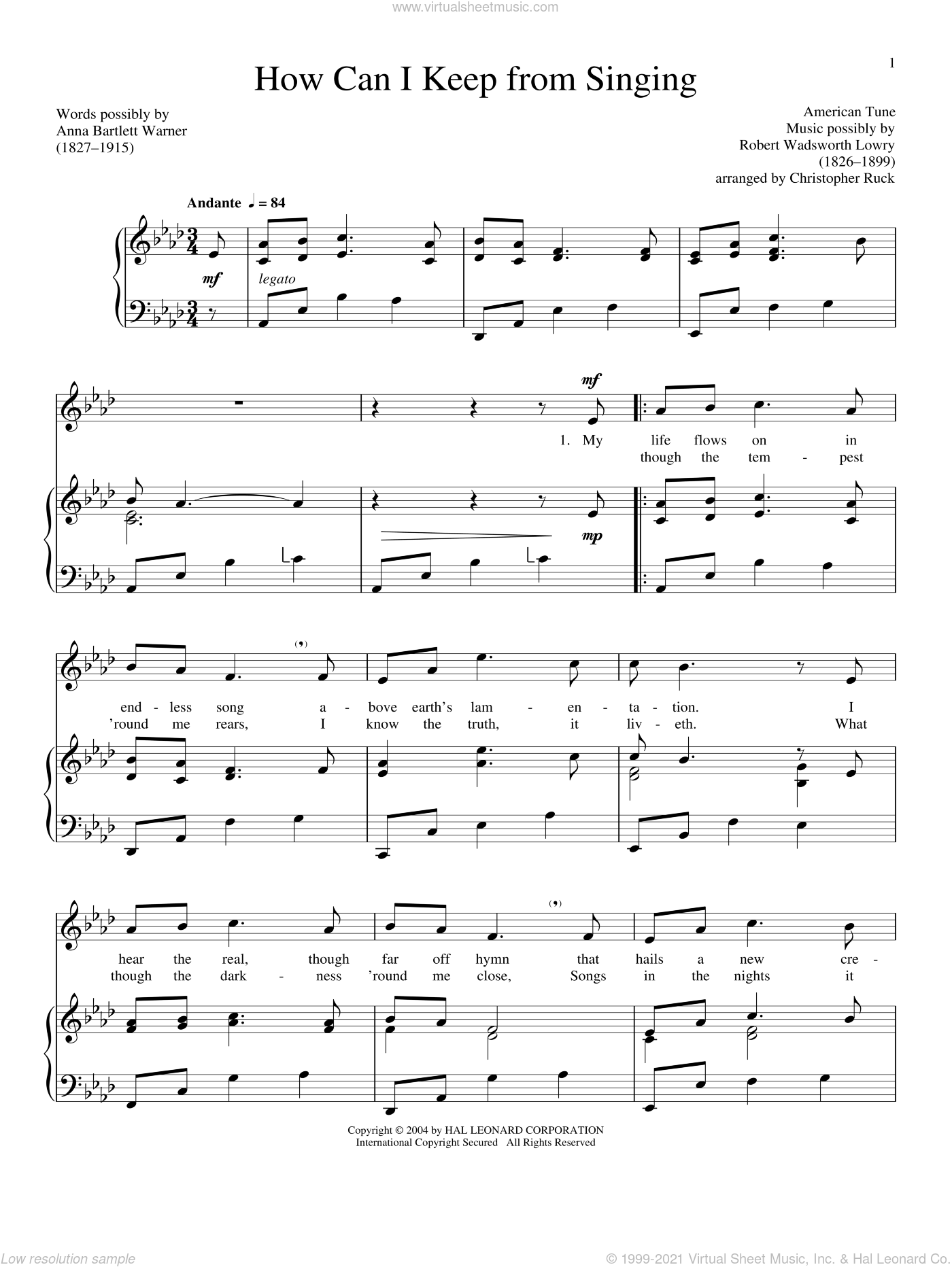 How Can I Keep From Singing sheet music for voice and piano