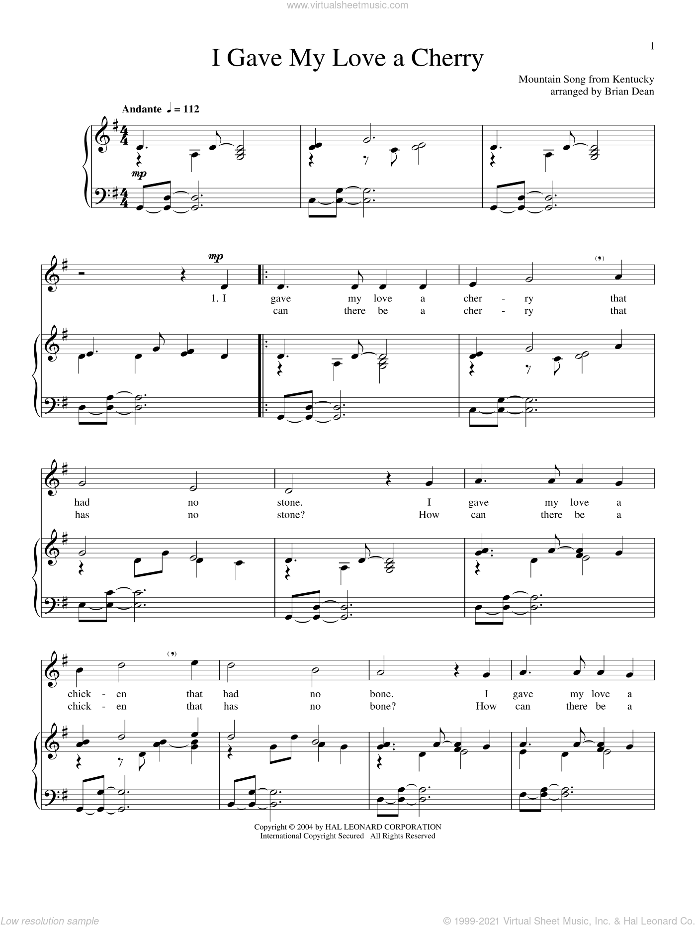 I Gave My Love A Cherry (The Riddle Song) sheet music for voice and piano, intermediate skill level