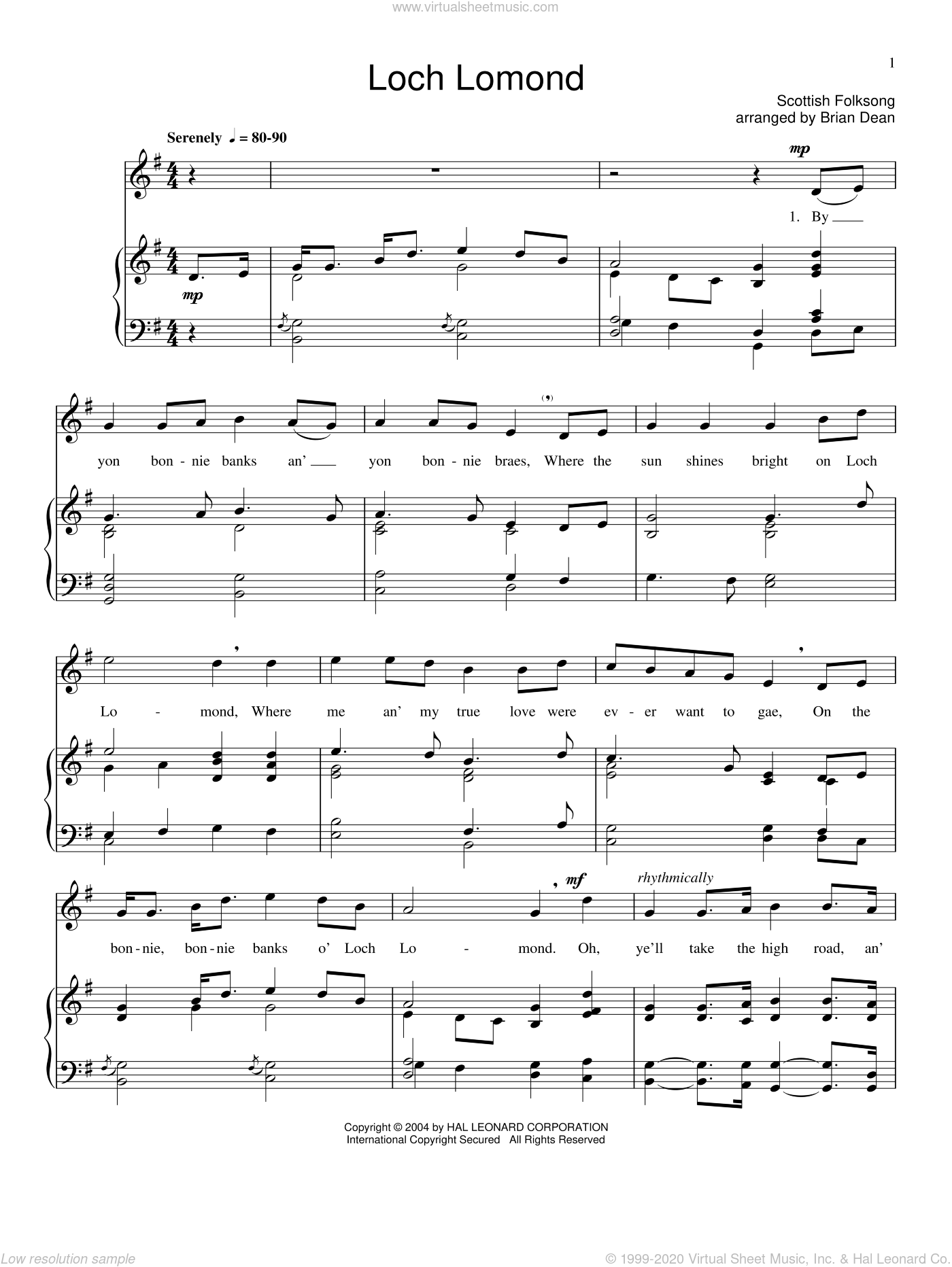 Loch Lomond sheet music for voice and piano. Score Image Preview.