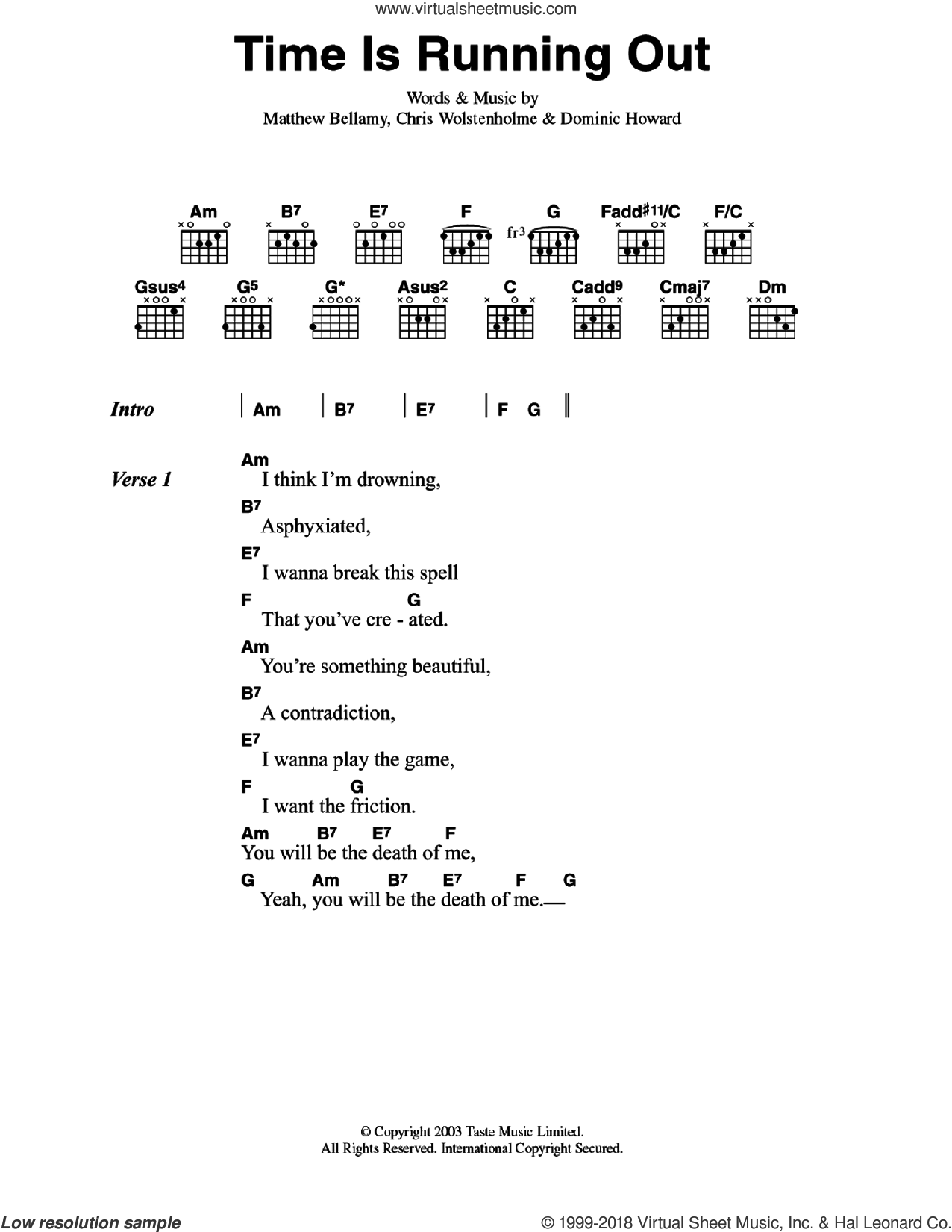 Time Is Running Out sheet music for guitar (chords) by Muse, intermediate skill level