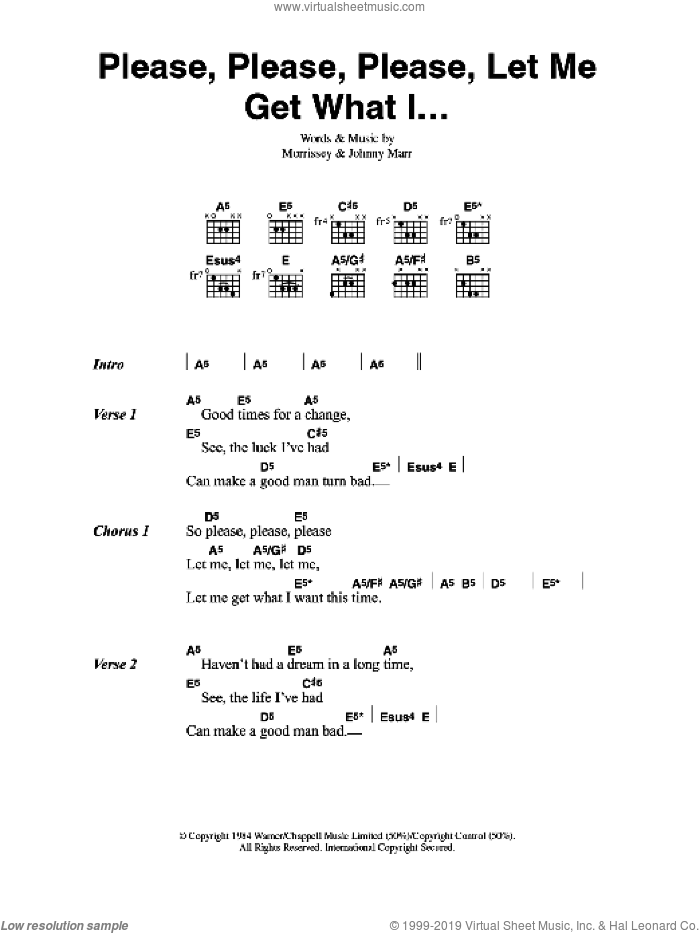 Please, Please, Please, Let Me Get What I Want sheet music for guitar (chords) by Muse. Score Image Preview.