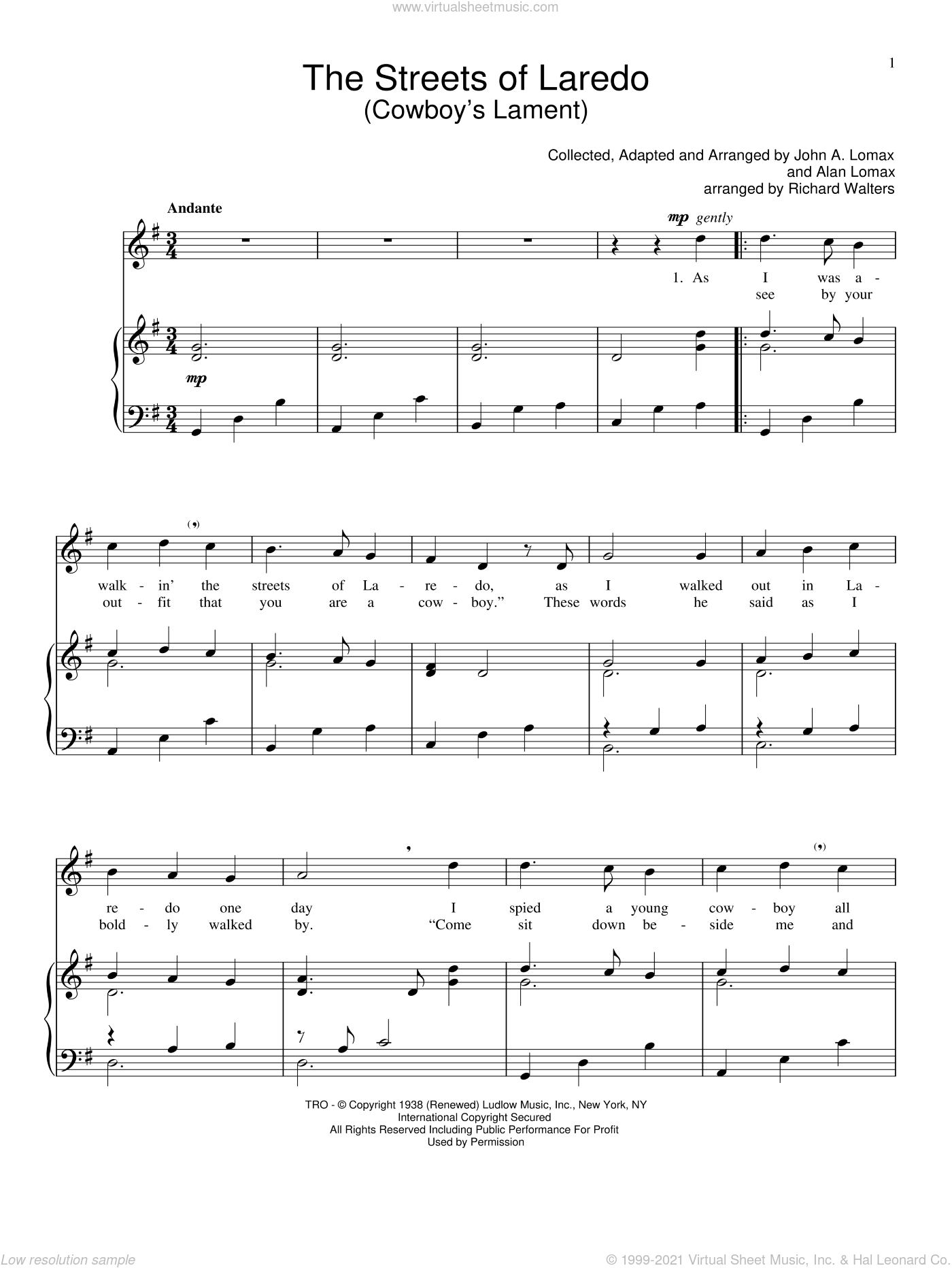 The Streets Of Laredo sheet music for voice and piano by John A. Lomax, intermediate skill level