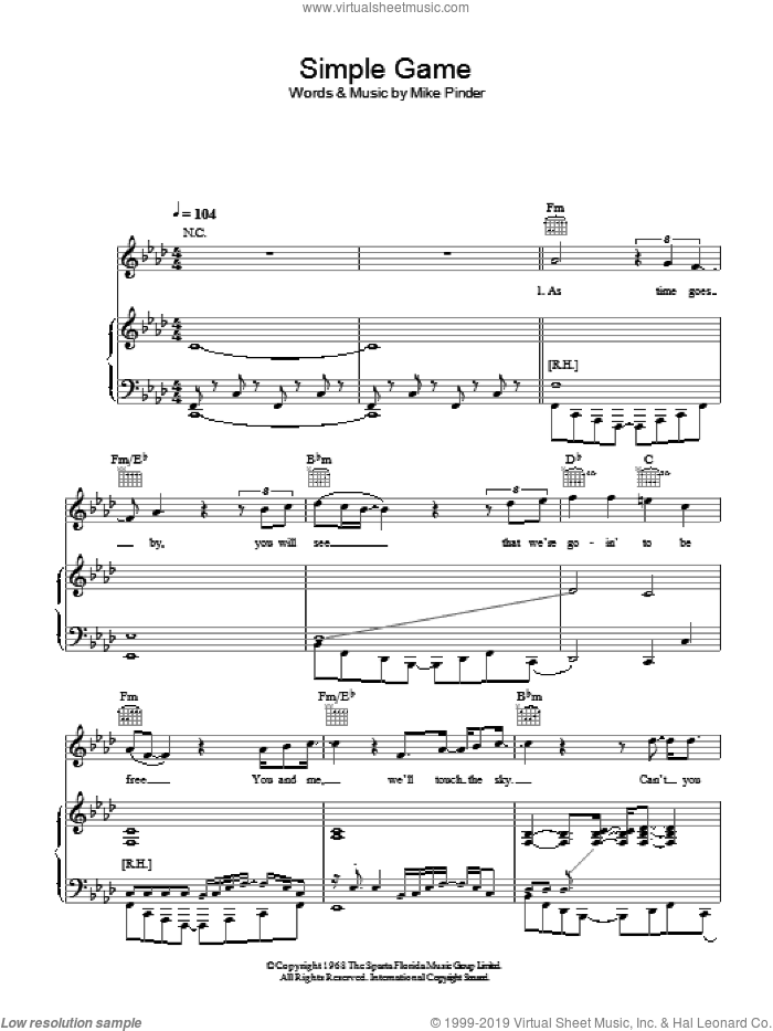 A Simple Game sheet music for voice, piano or guitar by The Four Tops and Mike Pinder, intermediate. Score Image Preview.