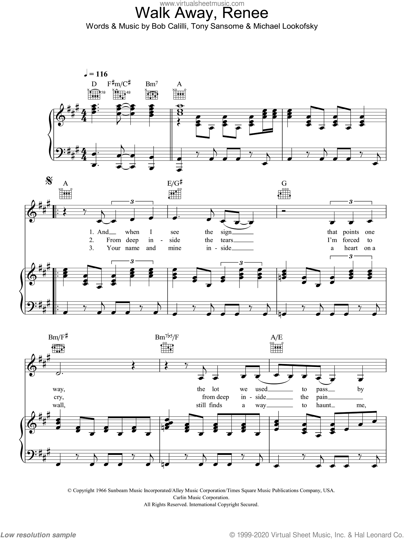 Walk Away, Renee sheet music for voice, piano or guitar by The Four Tops, Bob Calilli, Michael Lookofsky and Tony Sansome, intermediate. Score Image Preview.