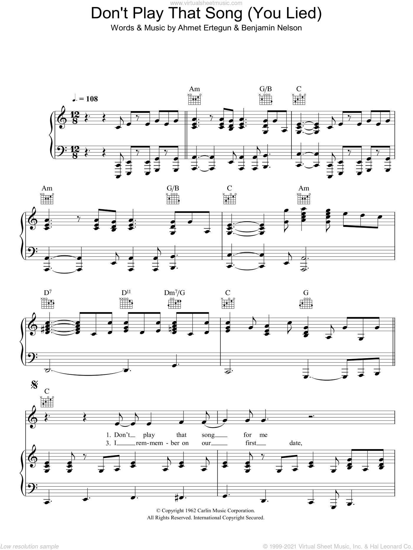 Don't Play That Song (You Lied) sheet music for voice, piano or guitar by Aretha Franklin, Ahmet Ertegun and Benjamin Nelson, intermediate skill level