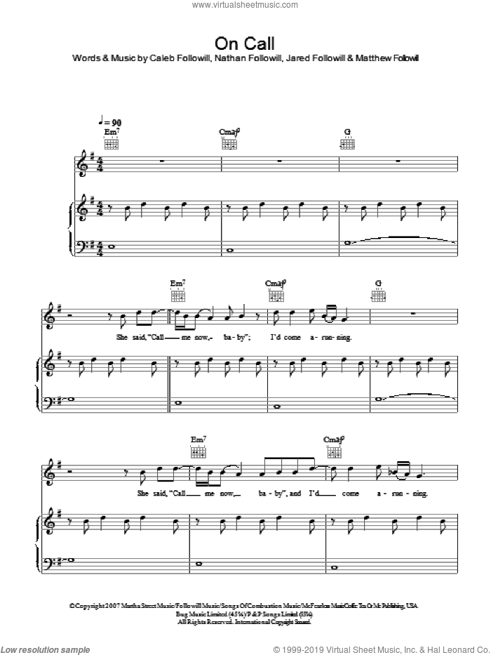 On Call sheet music for voice, piano or guitar by Kings Of Leon, Caleb Followill, Jared Followill, Matthew Followill and Nathan Followill, intermediate skill level