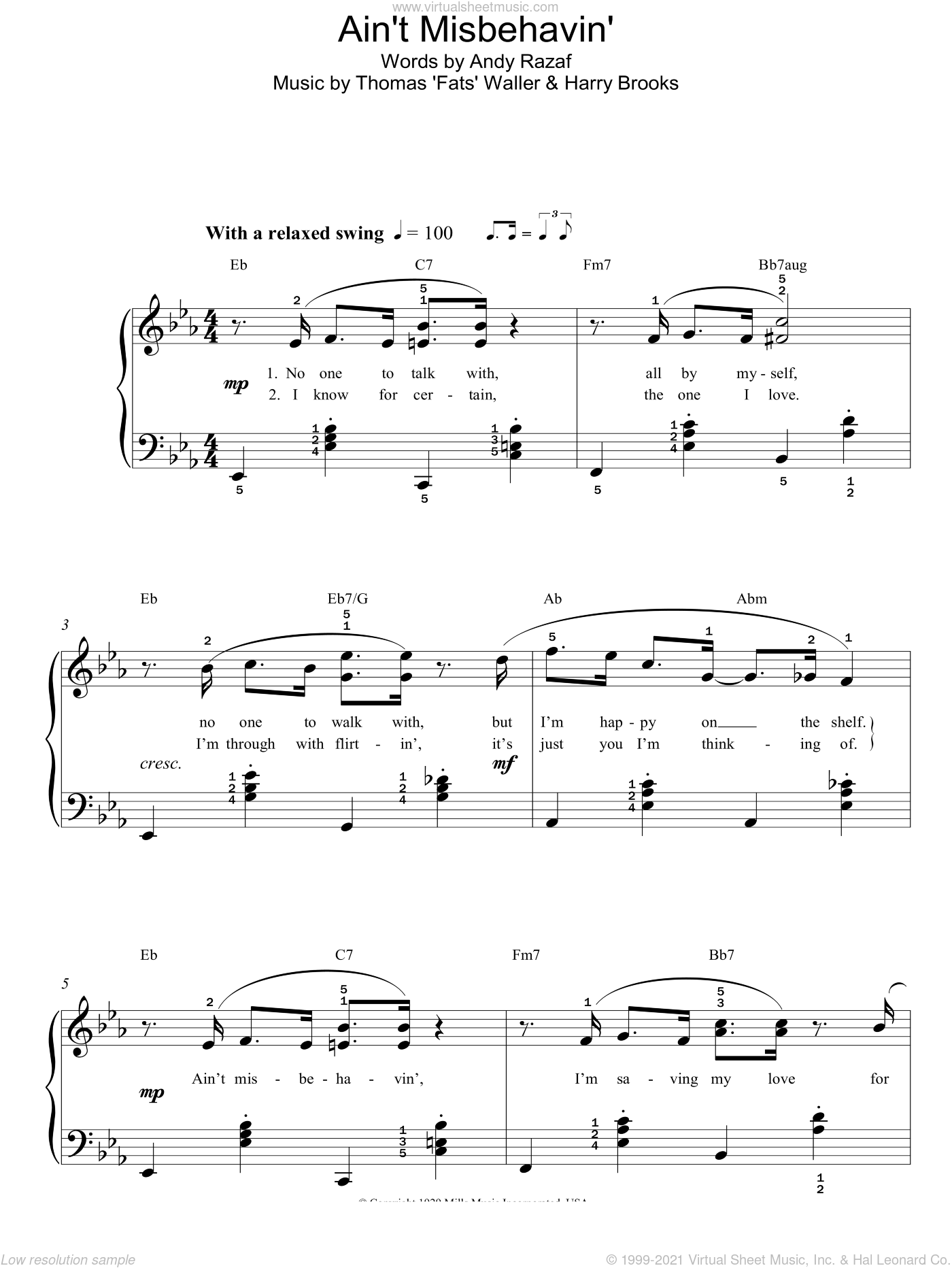 Ain't Misbehavin' sheet music for piano solo by Thomas Waller, Harry Brooks and Andy Razaf, easy skill level