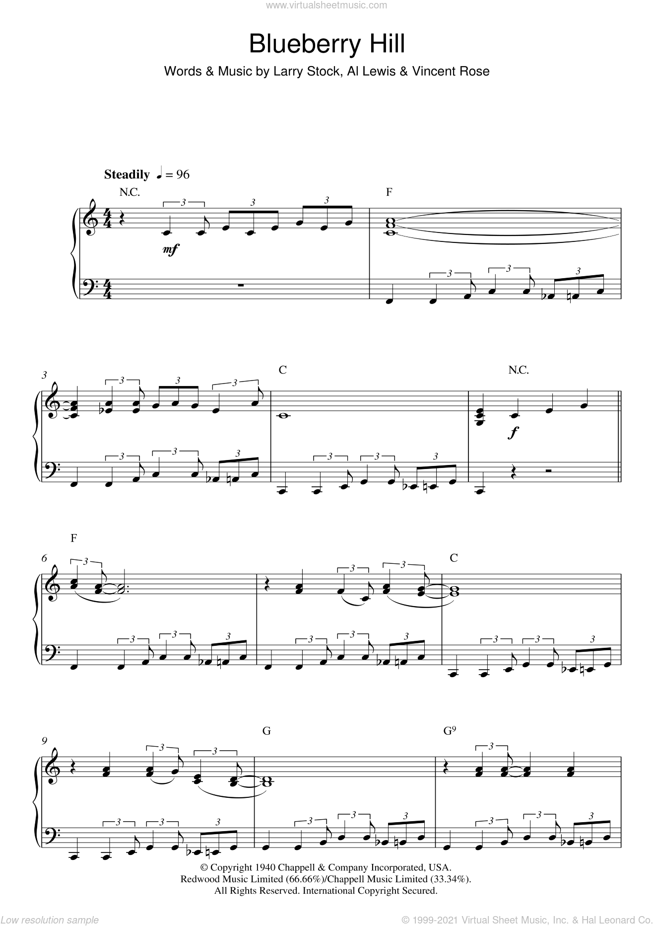 Blueberry Hill sheet music for piano solo by Al Lewis, Fats Domino, Larry Stock and Vincent Rose. Score Image Preview.