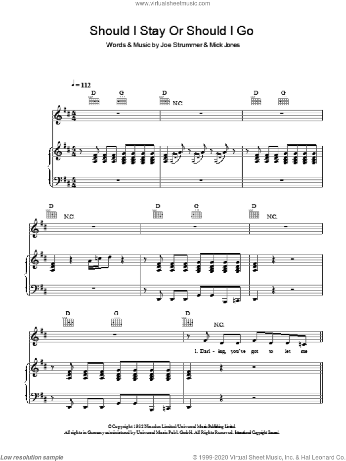 Should I Stay Or Should I Go sheet music for voice, piano or guitar by The Clash, Joe Strummer and Mick Jones, intermediate skill level