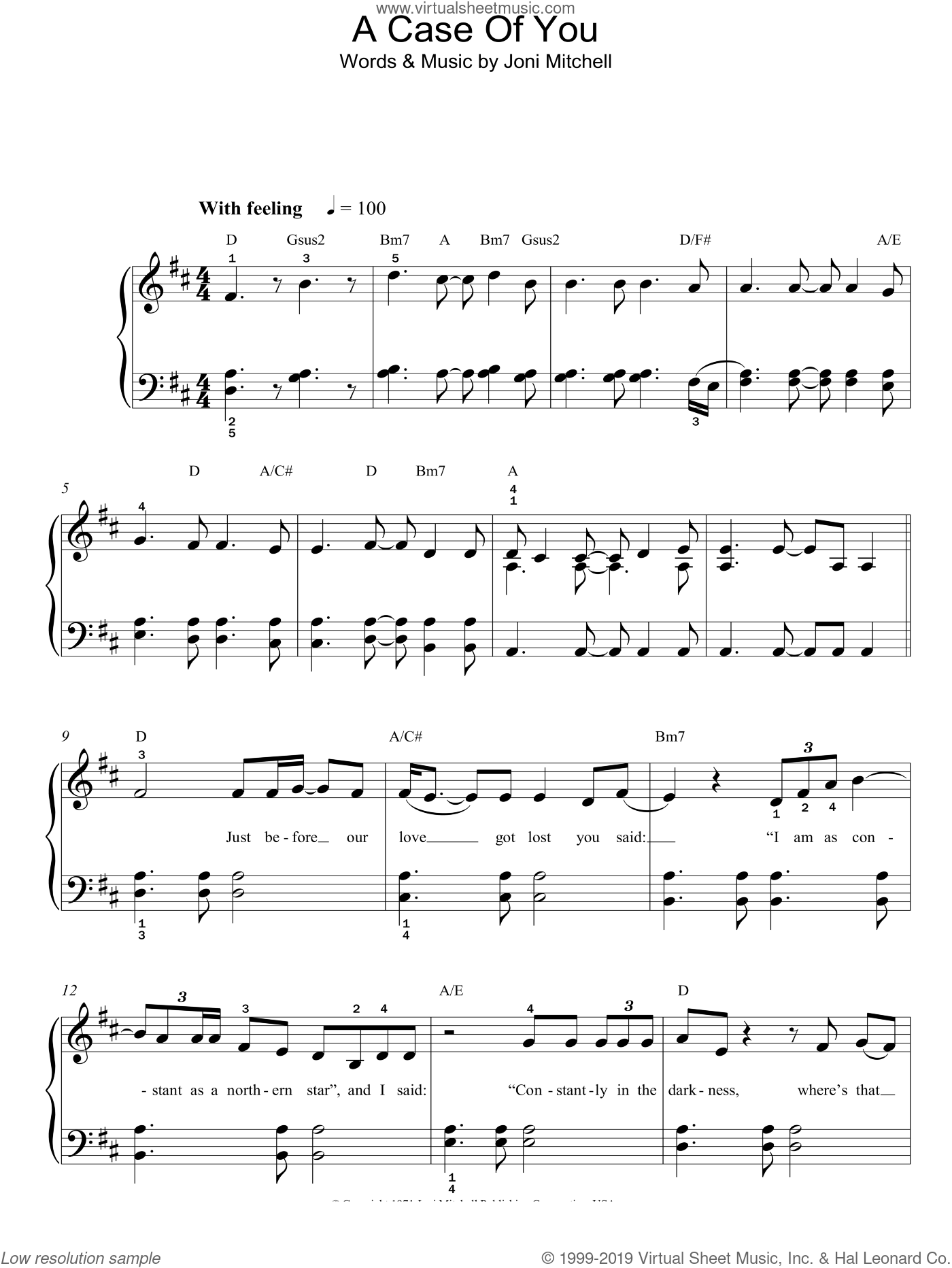 A Case Of You sheet music for piano solo by Joni Mitchell, easy skill level
