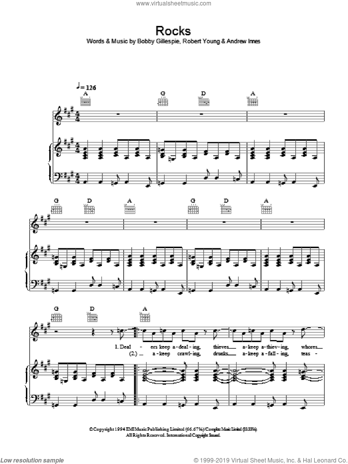 Rocks sheet music for voice, piano or guitar by Primal Scream, Andrew Innes, Bobby Gillespie and Robert Young, intermediate. Score Image Preview.