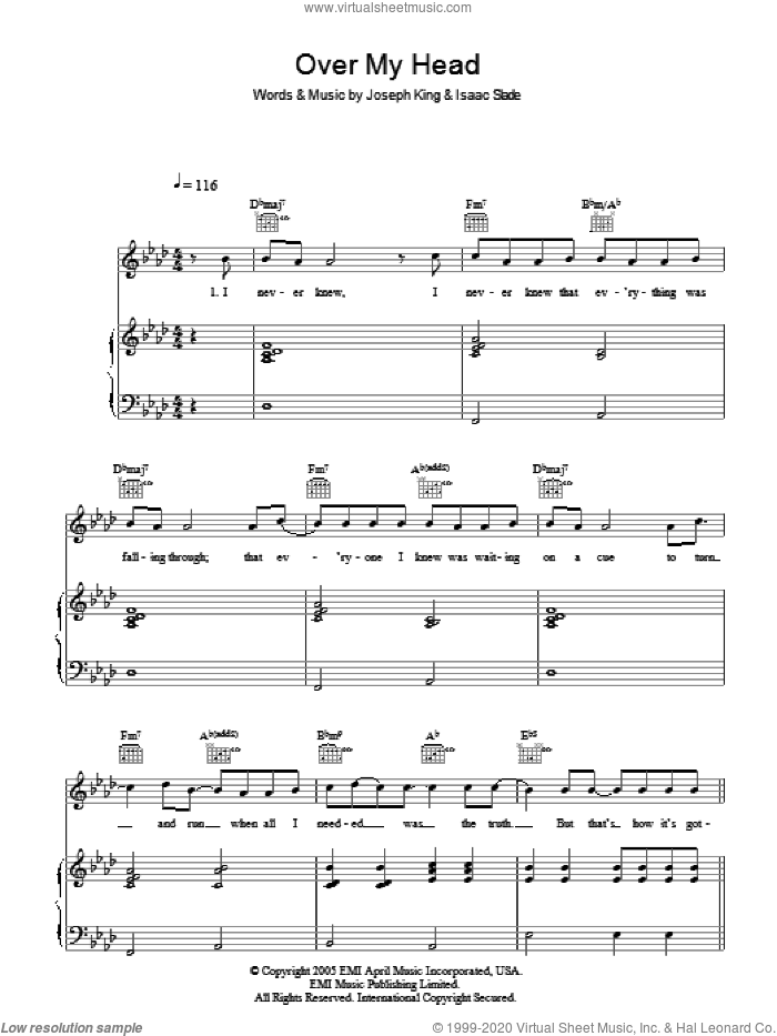 Over My Head (Cable Car) sheet music for voice, piano or guitar by Isaac Slade, The Fray and Joseph King. Score Image Preview.