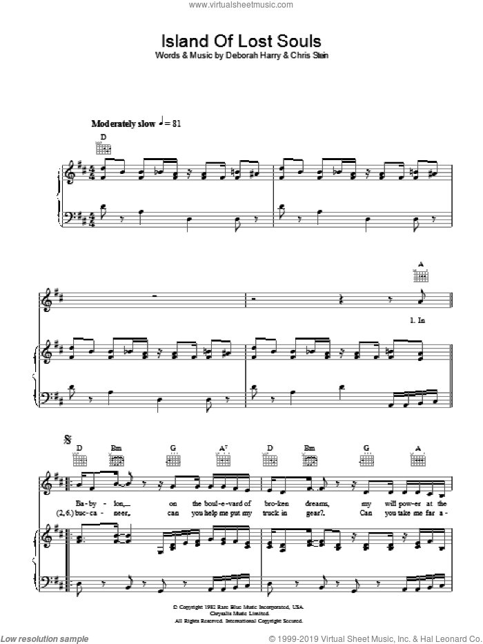 Island Of Lost Souls sheet music for voice, piano or guitar by Chris Stein, Blondie and Deborah Harry. Score Image Preview.