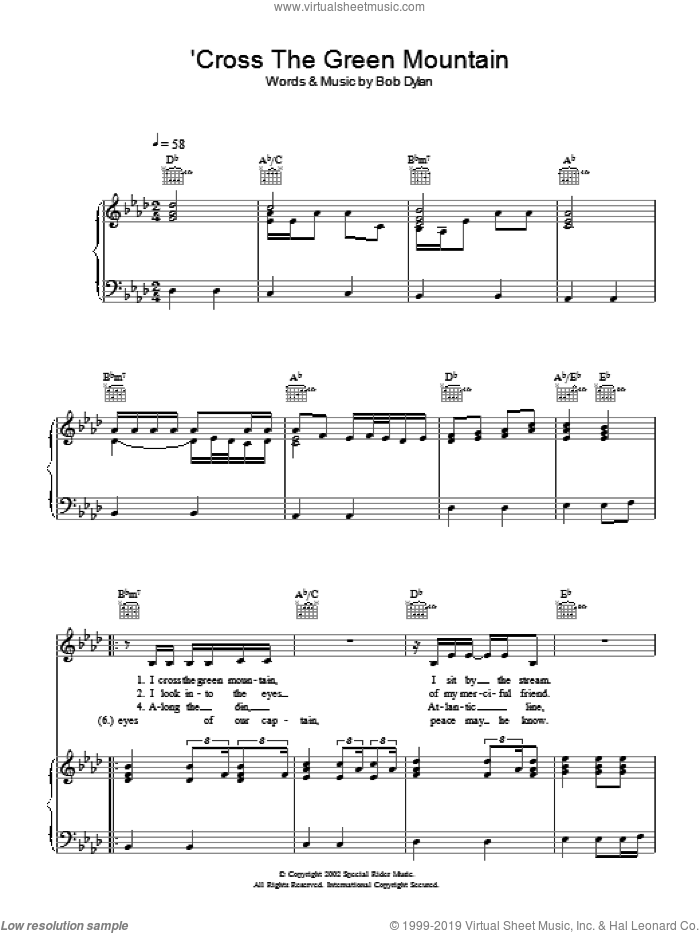 'Cross Green Mountain sheet music for voice, piano or guitar by Bob Dylan. Score Image Preview.