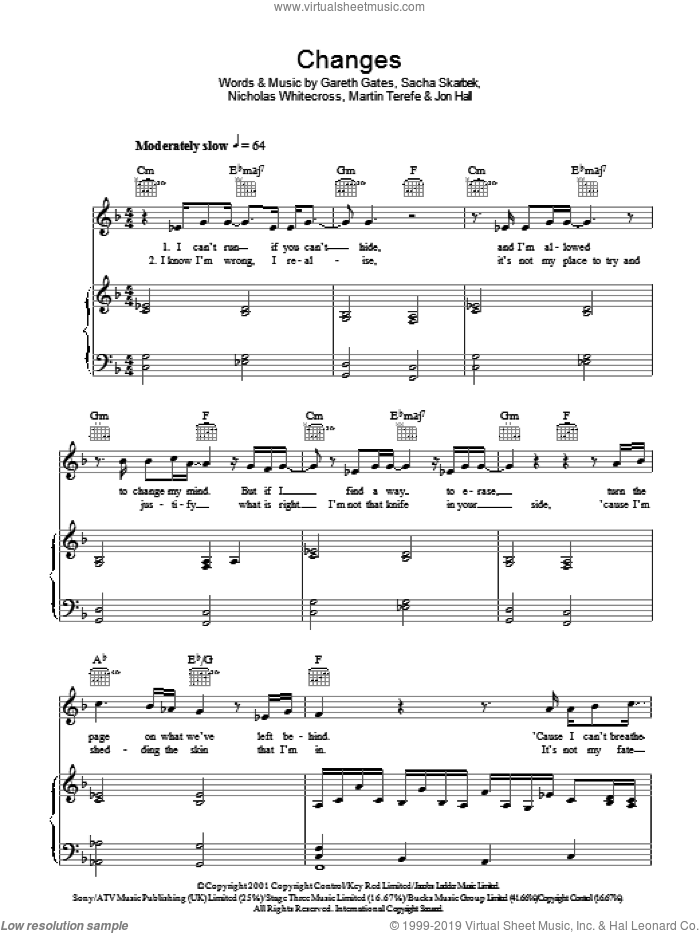 Changes sheet music for voice, piano or guitar by John Hall, Gareth Gates, Martin Terefe, Nicholas Whitecross and Sacha Skarbek. Score Image Preview.
