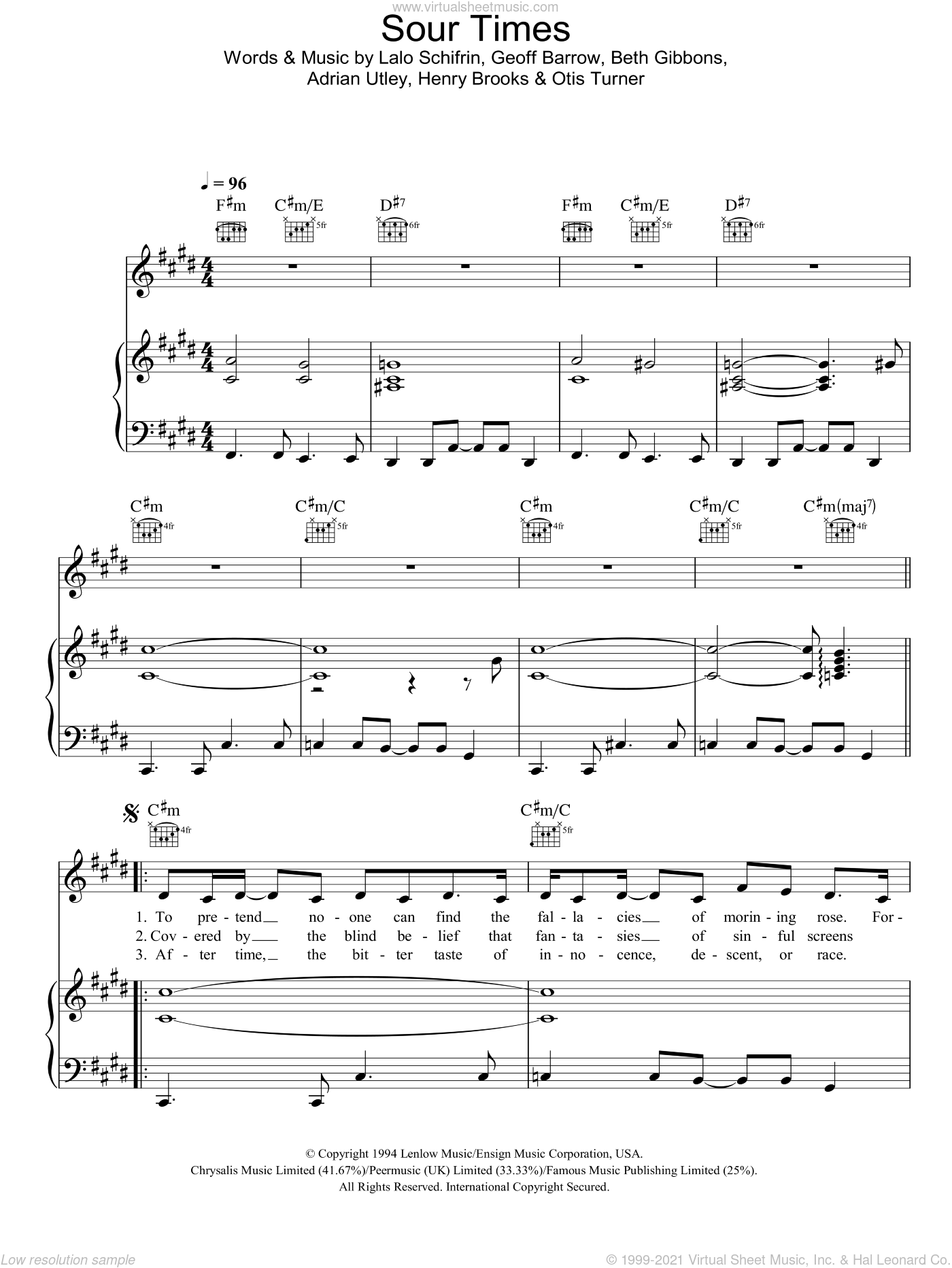 Sour Times sheet music for voice, piano or guitar by Portishead, Adrian Utley, Beth Gibbons, Geoff Barrow, Henry Brooks, Lalo Schifrin and Otis Turner, intermediate skill level