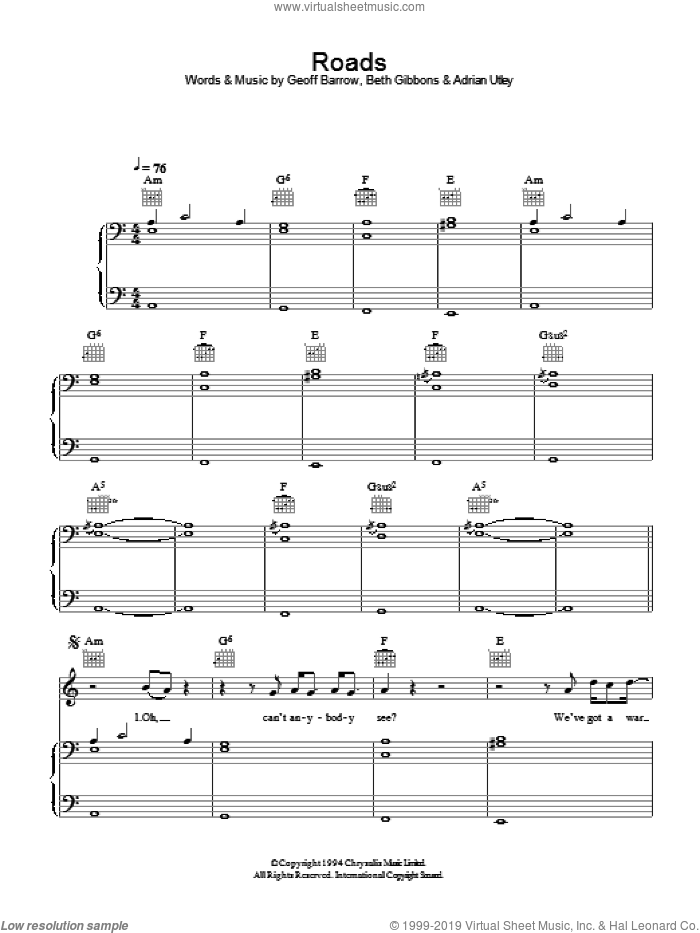Roads sheet music for voice, piano or guitar by Portishead, Adrian Utley, Beth Gibbons and Geoff Barrow, intermediate skill level