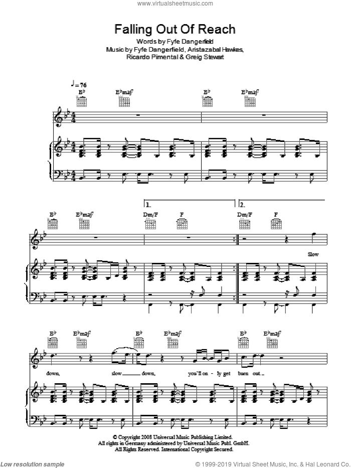 Falling Out Of Reach sheet music for voice, piano or guitar by Guillemots and Fyfe Dangerfield, intermediate. Score Image Preview.