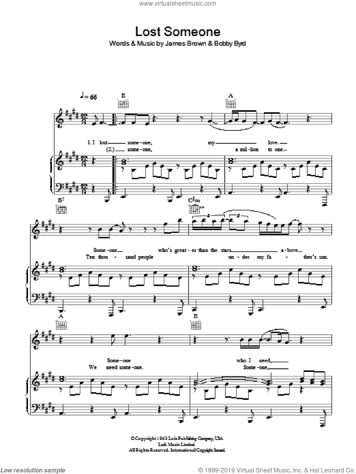 Lost Someone sheet music for voice, piano or guitar by James Brown, intermediate. Score Image Preview.