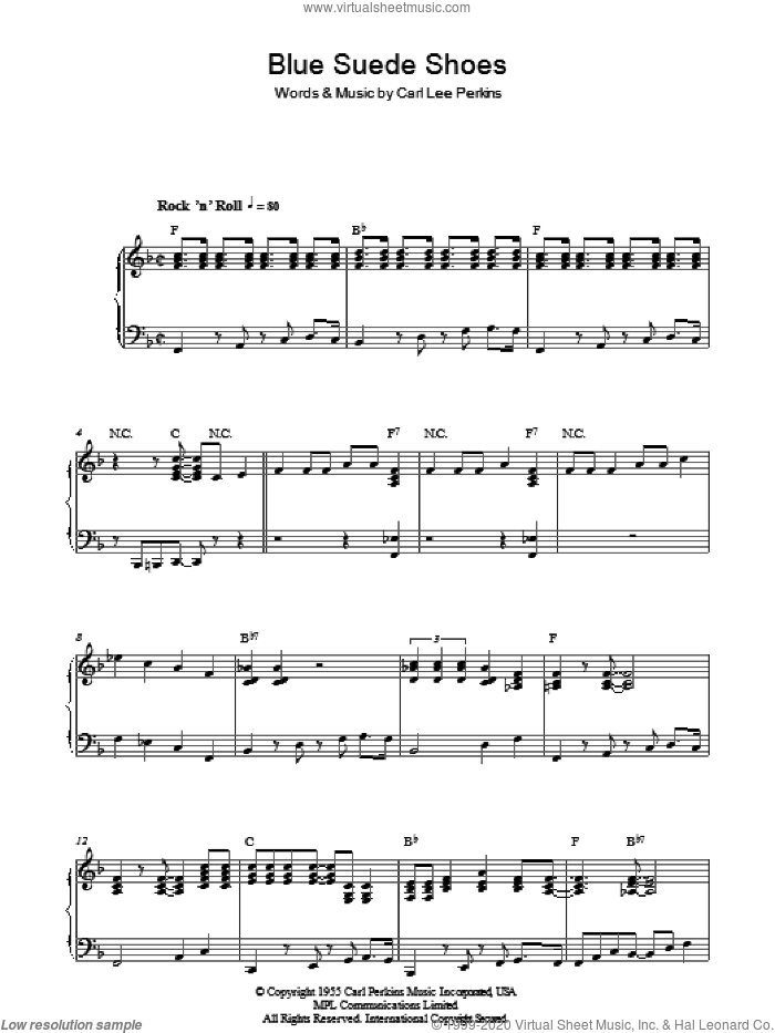 Blue Suede Shoes sheet music for piano solo by Elvis Presley and Carl Perkins, intermediate. Score Image Preview.