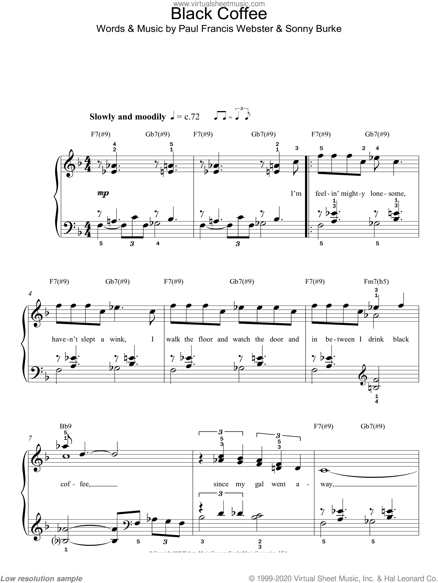 Black Coffee sheet music for piano solo by Paul Francis Webster, Sarah Vaughan and Sonny Burke. Score Image Preview.